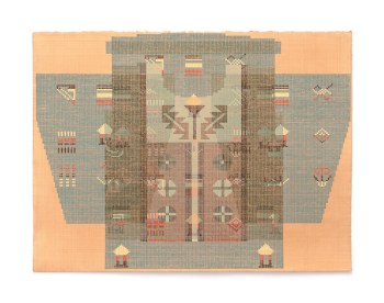 Ellen Lesperance, House, Harp (Occupy! 2011), 2014, gouache and graphite on tea-stained paper, 29 1/2 x 22 inches.