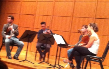 The Dover Quartet played and talked at Whitsell Auditorium.