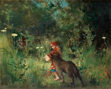"""Carl Larsson, """"Little Red Riding Hood and the Wolf in the Forest,"""" 1881, oil on canvas, 14.6 x 17.7 inches/Wikimedia Commons"""