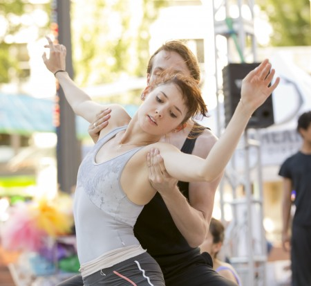 "Eva Burton and Colby Parsons rehearsing ""Never Stop Falling (In Love)"" at OBT Exposed in Pioneer Courthouse Square in August. Photo: Blaine Truitt Covert"