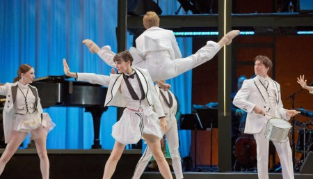 "From left: Katherine Monogue, Eva Burton, Chauncey Parsons (leaping), Michael Linsmeier in Nicolo Fonte's ""Never Stop Falling (In Love)."" Photo: Blaine Truitt Covert"