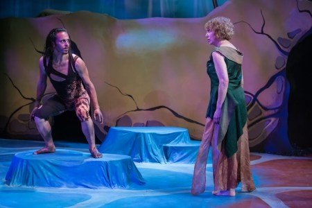 """Mattew Kerrigan as Caliban, Linda Alper as Prospera in """"The Tempest."""" Photo: David Kinder"""