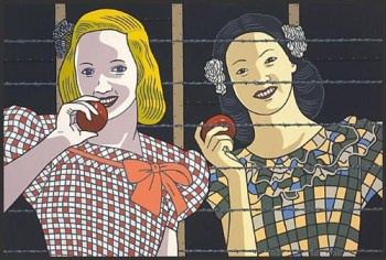 Roger Shimomura (American b. 1939), Classmates #1, 2007, 24 x 36 in., acrylic on canvas, private collection, Seattle, WA. Photo courtesy of the Museum of Art at Washington State University, Pullman, WA.