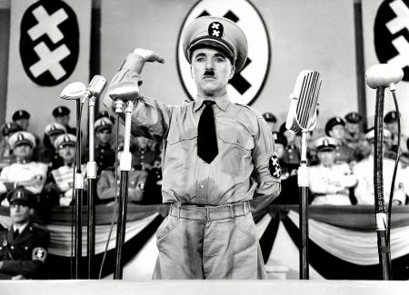 """Mockery in art carries a long tradition. Here, Charlie Chaplin skewers Hitler in 1940's """"The Great Dictator."""""""