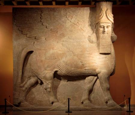 Assyrian Lamassu at the Oriental Institute Museum at the University of Chicago. From Khorsabad, entrance to the throne room Neo-Assyrian Period, ca. 721-705 B.C. Wikimedia Commons
