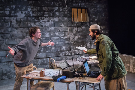 "Connor Toms and Imran Sheikh in ART's ""The Invisible Hand""/Owen Carey"