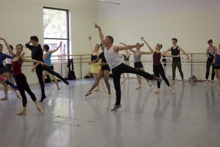 "Fabrice Lemire, artistic director of ""Varekai,"" leads company class at OBT, where he once danced. Photo: XXX XXXXX"