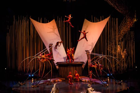 "The Russian Swings act from ""Varekai."" Photo: Martin Girard / shootstudio.ca Costumes: Eiko Ishioka © 2014 Cirque du Soleil"