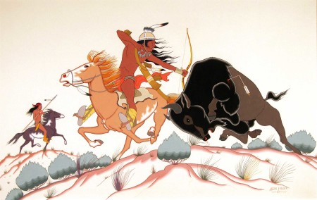 "Allan C. Houser (Chiricahua Apache, 1914-1994), ""Bufflo Hunt,"" 1952, gouache on illustration board, 17.25 x 26.5 inches."