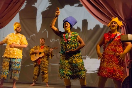 "Isaac Lamb, Brian Adrian Koch, Kemba Shannon, Cristi Miles in Portland Playhouse's ""Mr. Burns."" Photo:  Brud Giles."