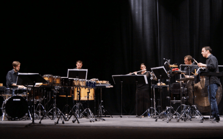 Percussion and flute combine in Saturday's Portland Percussion Group concert.