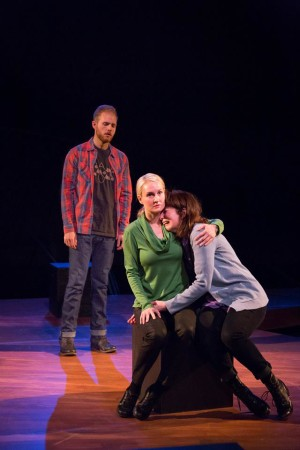 """Kelly Godell comforts Maureen Porter as Rolland Walsh looks on in  """"Static""""/Courtesy Third Rail Repertory Theatre"""