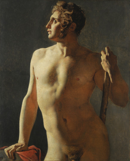 Jean-Auguste-Dominique Ingres, Torso (Painted Half- Figure), 1800, Oil on canvas, 40 3/16 x 31 1/2 in., École des Beaux-Arts, Paris (Torse 15), Courtesy American Federation of Arts