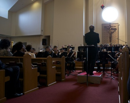"""Neal Gittelman conducted the Dayton Philharmonic as it played Niel DePonte's """"With Grace and Justice for All"""" in St. Margaret's Episcopal Church/Niel DePonte"""