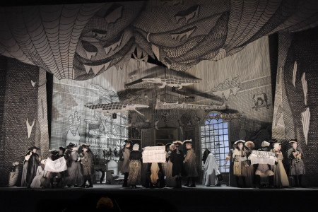 David Hockney's design is the star of the show in  Portland Opera's The Rake's Progress. Photo: Karen Almond.