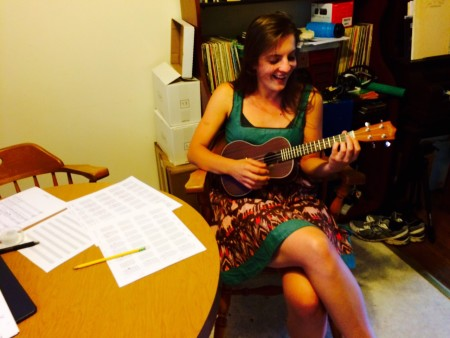 "At a rehearsalk for ""Bliss,""  Zoe Rudman pratices the  ukulele. The show is part of a free play reading at Portland Center Stage on Sunday."