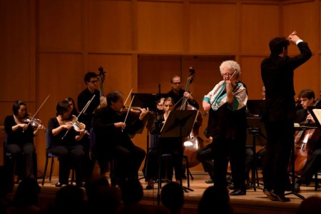 Violinist Monica Huggett performs Beethoven's Violin Concerto in D Major with Matthew Halls conducting the Berwick Academy. Photo:  Jonathan Lange.