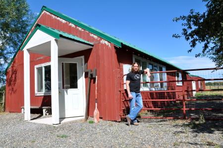 Ryan LaBar stands outside his Enterprise, Oregon LH Project studio.