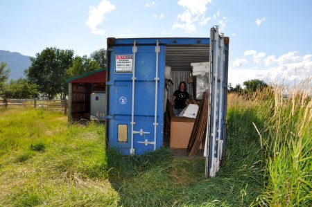 LaBar's container where his work is stored and prepared to ship around the world for exhibitions.