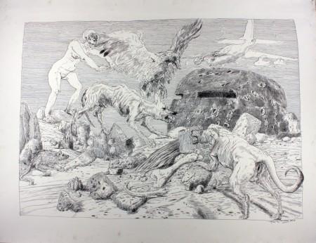 "Henk Pander,"" Observation Post,"" pen and ink. Courtesy of the artist."