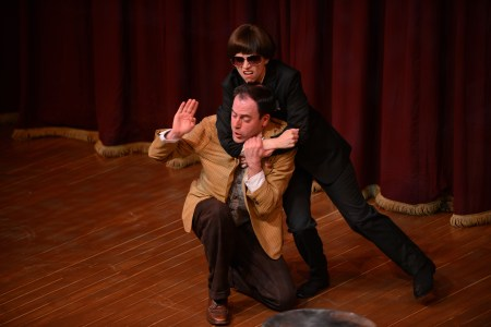 Shanafelt and Rimmer, shifting to overdrive. Photo: Clackamas Repertory Theatre