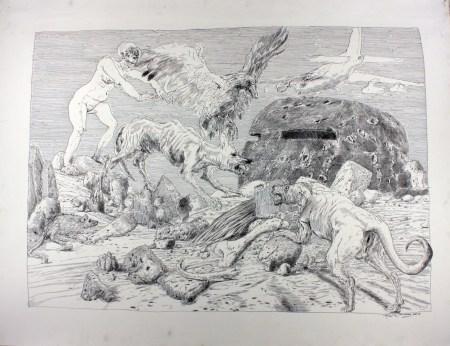 """Henk Pander, """"Observation Post,"""" pen and ink./Courtesy Henk Pander"""