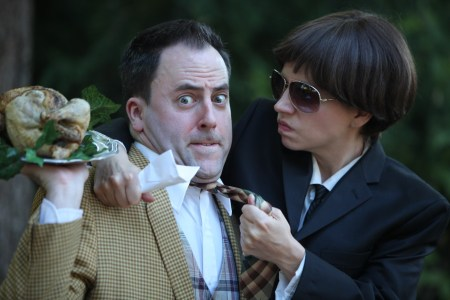 "Jayson Shanafelt and Annie Rimmer in ""One Man, Two Guvnors,"" opening Friday at Clackamas Rep. Photo: Travis Nodurft"