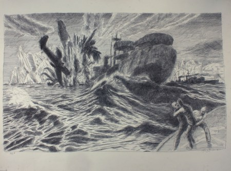 "Henk Pander, ""The Convoy PQ-18 with Liberty Ship"", pen and ink/Courtesy of Henk Pander"