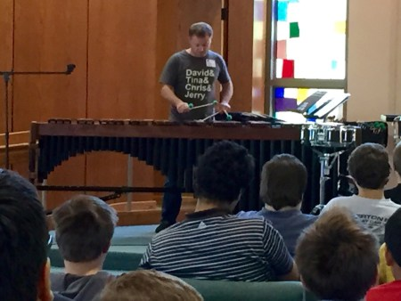 Currie performing at Portland's St. Mary's Home for Boys this week. Photo: Monica Hayes.