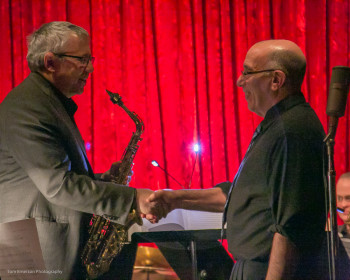 Schiff at last year's Third Angle concert with jazz saxophonist Marty Ehrlich, who'll play his music at FearNoMusic's concert. Photo: Tom Emerson.
