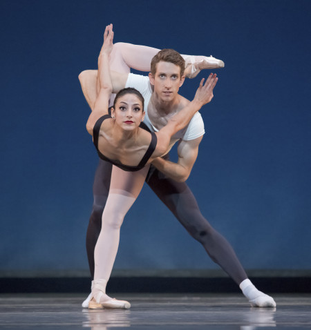 """Martina Chavez and Brian Simcoe in Balanchine's """"Agon,"""" opening last season at OBT. Photo: Blaine Truitt Covert/2014"""