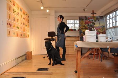 Shelley Jordon and sidekick, seeing patterns. Photo: Sabina Poole