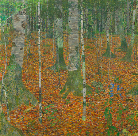 "Gustav Klimt (Austrian, 1862–1918), ""Birch Forest (Birkenwald),"" 1903. Oil on canvas, 43 1/4 × 43 1/4 inches. Courtesy of the Paul G. Allen Family Collection."