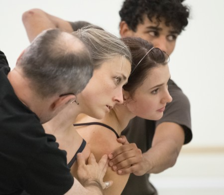 "Left to right: Choreographer James Kudelka, Candace Bouchard, Eva Burton, and Jordan Kindell in rehearsal for the world premiere of Kudelka's ""Sub Rosa"" with music by Carlo Gesualdo. Photo: Blaine Truitt Covert"