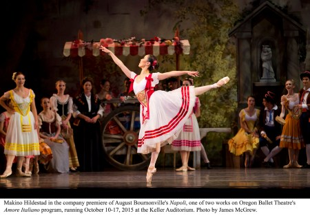 "Makino Hildestad in Oregon Ballet Theatre's premiere of August Bournonville's ""Napoli."" Photo by James McGrew."