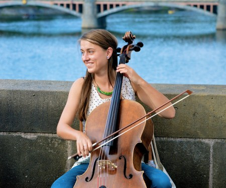 cellist on bridge