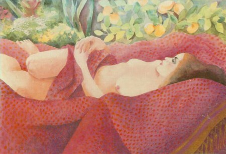 """Nude Reclining under Lemon Tree,"" Odile Crick, watercolor"