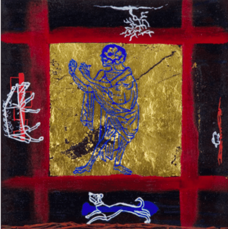 """""""The Blue Death,"""" 1996, acrylic, gouache, gold leaf, and mixed media on paper, 15 x 15"""" (framed dimensions), courtesy of the artist. Photo: Dale Peterson."""