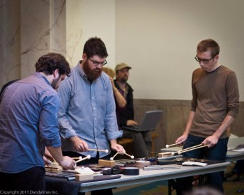 So Percussion, here shown in a Friends of Chamber Music outreach session at the Multnomah County Central Library on their previous Portland visit, performs music of Steve Reich Saturday with Third Angle.
