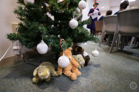 xmas tree and stuffed animals close