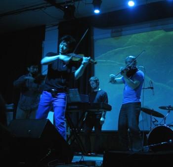 Sumitani and Hsu at ARCO's Feb. 13 performance at Eugene's WOW Hall. Photo: Gary Ferrington.