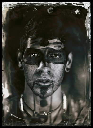 """Will Wilson. """"Eric Garcia Lopez, Citizen of Tarasco First Nation, Dancer, Dancing Earth, Indigenous Contemporary Dance Creations"""", 2012, from the series """"Critical Indigenous Photographic Exchange."""" Archival pigment print from wet plate collodion scan. Courtesy of the artist © Will Wilson"""