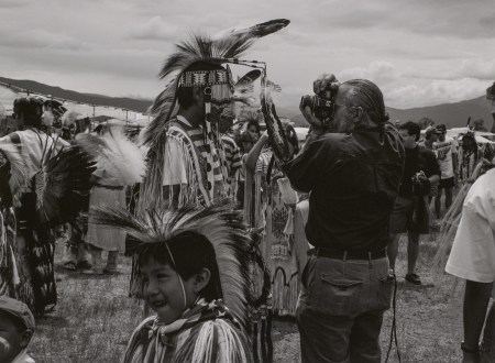 """Zig Jackson. """"Camera in Face, Taos, New Mexico,"""" 1992, from the series """"Indian Photographing Tourist Photographing Indian."""" Pigment print. Courtesy of the artist and Andrew Smith Gallery © Zig Jackson"""