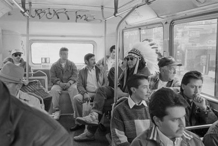 Zig Jackson. Indian on Mission Bus, 1994, from the series Indian Man in San Francisco. Pigment print. Courtesy of the artist and Andrew Smith Gallery © Zig Jackson