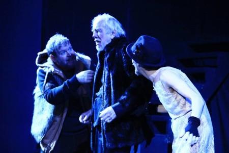 Todd Van Voris as Kent, Andersen as Lear, Philip J. Berns as the Fool. Post5 Theatre photo