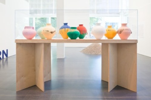 Ai Weiwei: Dropping the Urn (Ceramic Works, 5000 BCE – 2010 CE), installation view, 2010, Museum of Contemporary Craft. Photo by: Jake Stangel