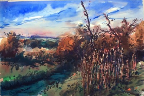 """Henk Pander, """"River in Refuge,"""" (2015) 40x60 inches, watercolor"""