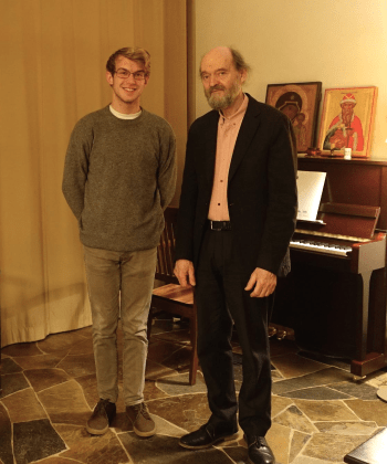 Graff and Pärt at the Arvo Pärt Centre. Photo: Arvo Pärt Centre.