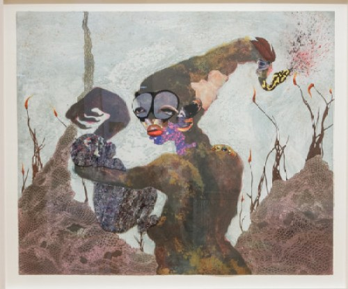 "Wangechi Mutu, ""Histology of Different Classes of Uterine Tumors""/Courtesy of PNCA"