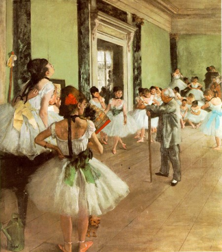 Ballet 19th century style, complete with stick: Edgar Degas paints the renowned ballet master Jules Perrot conducting rehearsal in the Foyer de la Dance of the Palais Garnier in Paris. Oil on canvas, ca. 1871-74, 33.5 x 29.5 inches, Musée d'Orsay, Paris. Wikimedia Commons